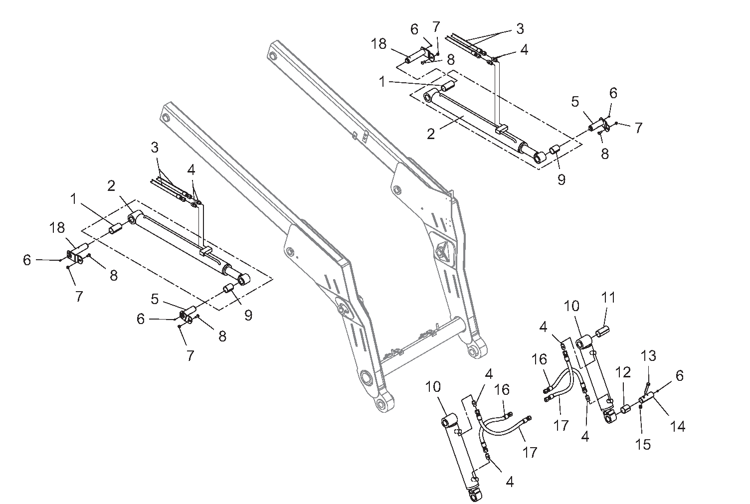 Diagram 3-4A Hydraulic Cylinders - Lift Arm and Tilt