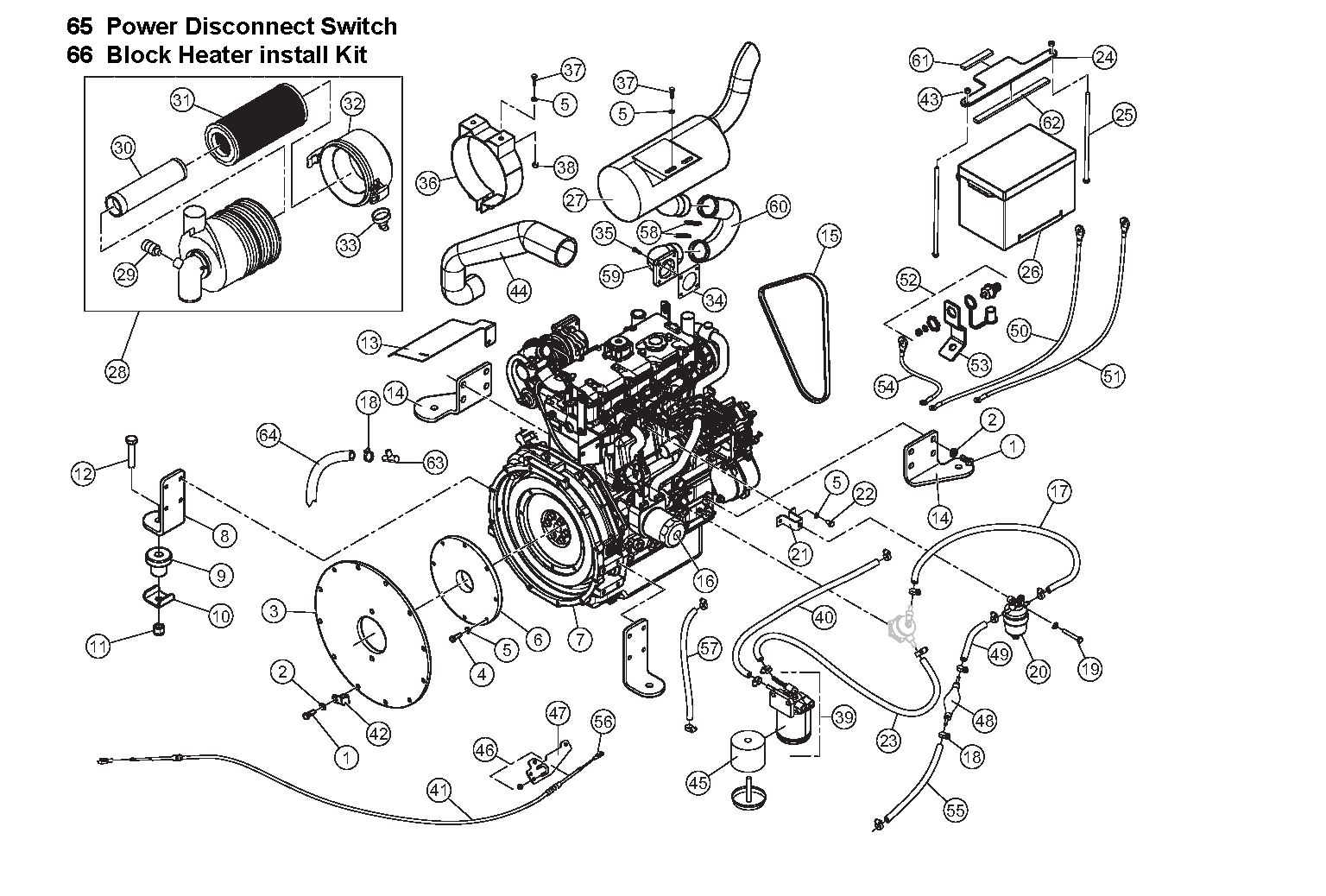 Diagram 2-1A Engine - Intake - Exhaust - Battery