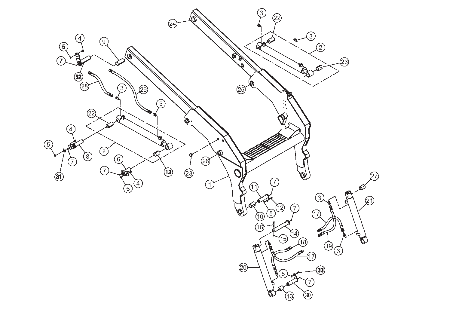 Diagram 3-4A Lift Arm And Hydraulic Cylinders
