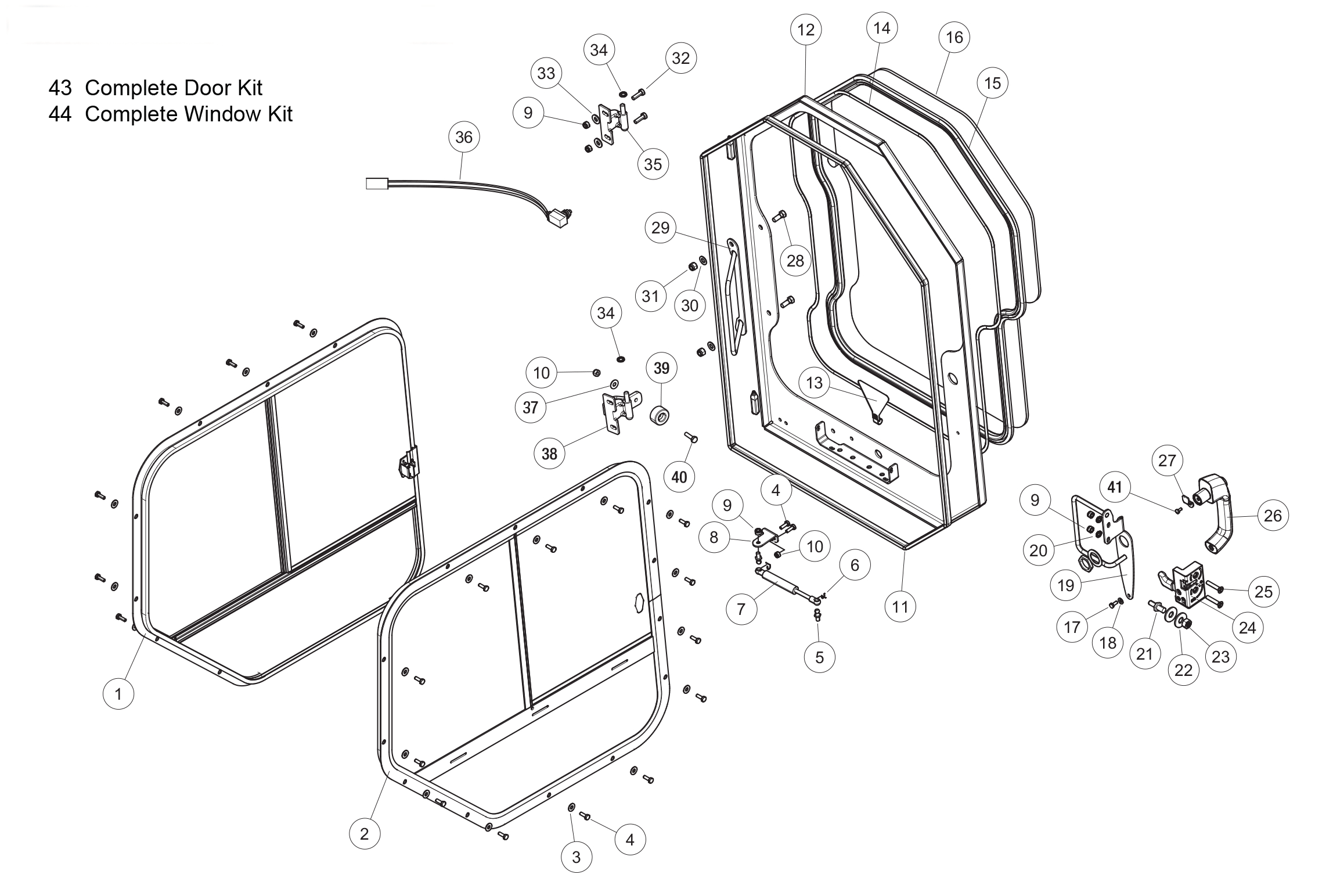 Diagram 07-A Cab Door And Windows - Cab ROPS - Optional
