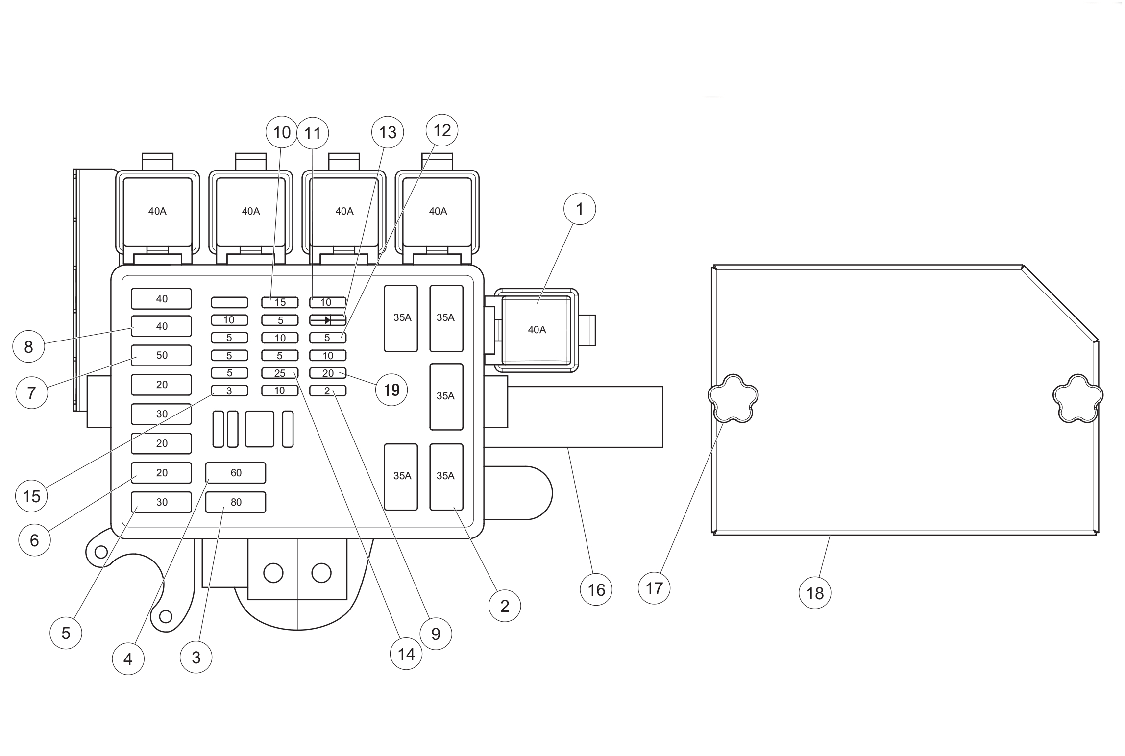 Diagram 20-A Fuse Panel Assembly