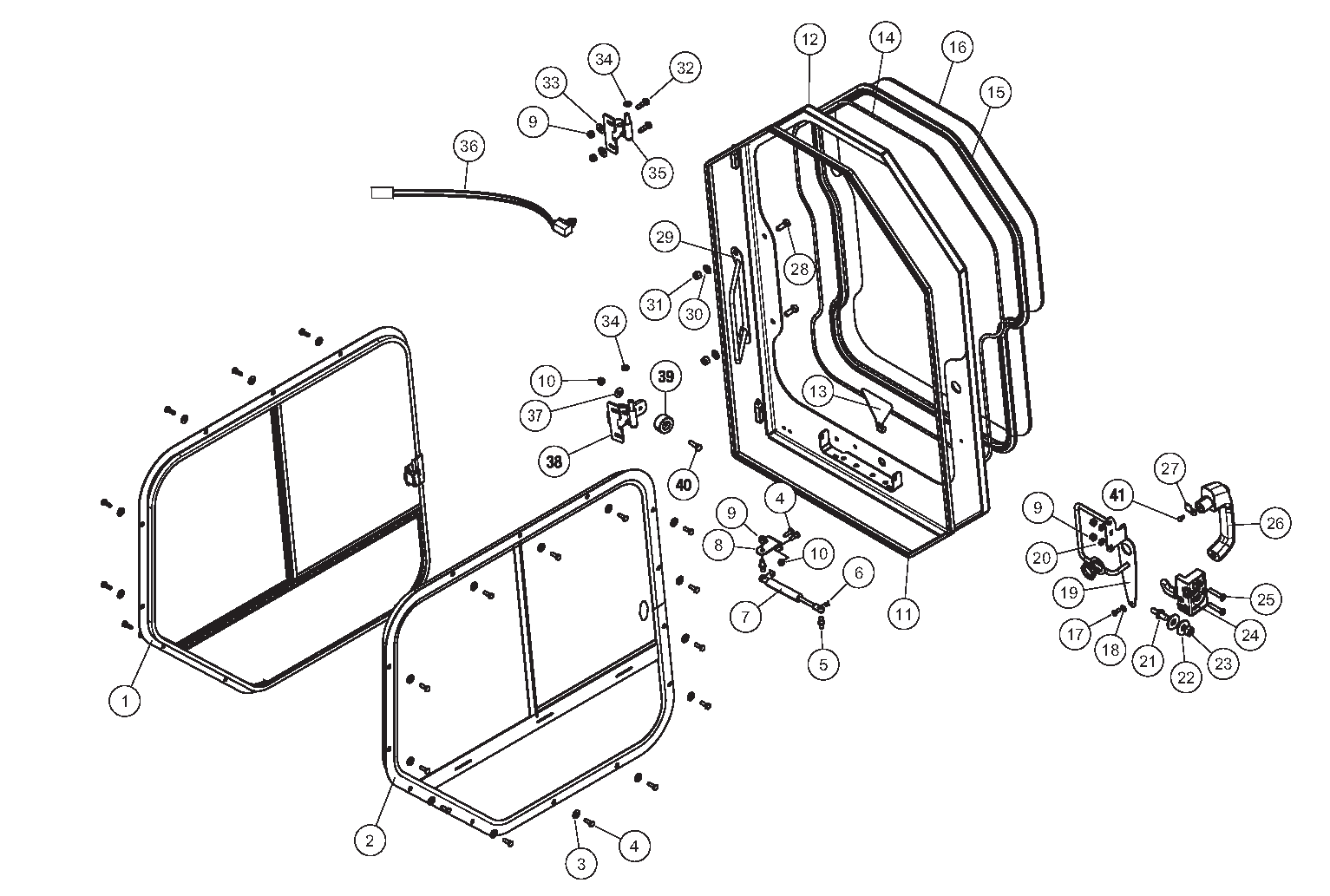 Diagram 07-A Cab Doors And Windows - ROPS