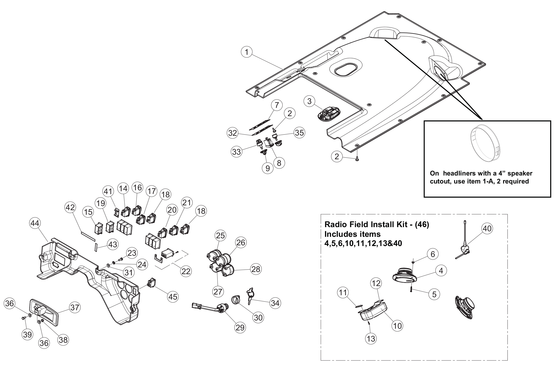 Diagram 06-A Cab Headliner And Dash Panel - ROPS