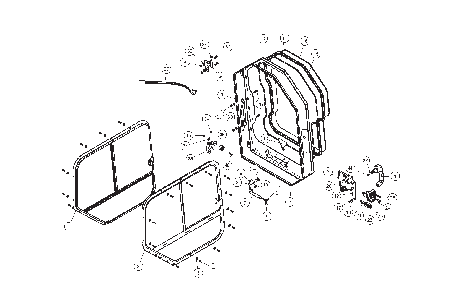 Diagram 07-A Cab Doors And Windows - ROPS - Optional