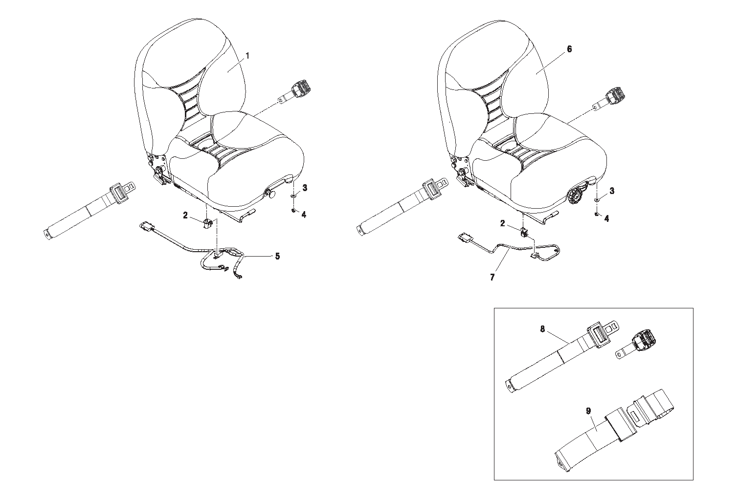 Diagram 11-1A Seat and Seatbelt Options