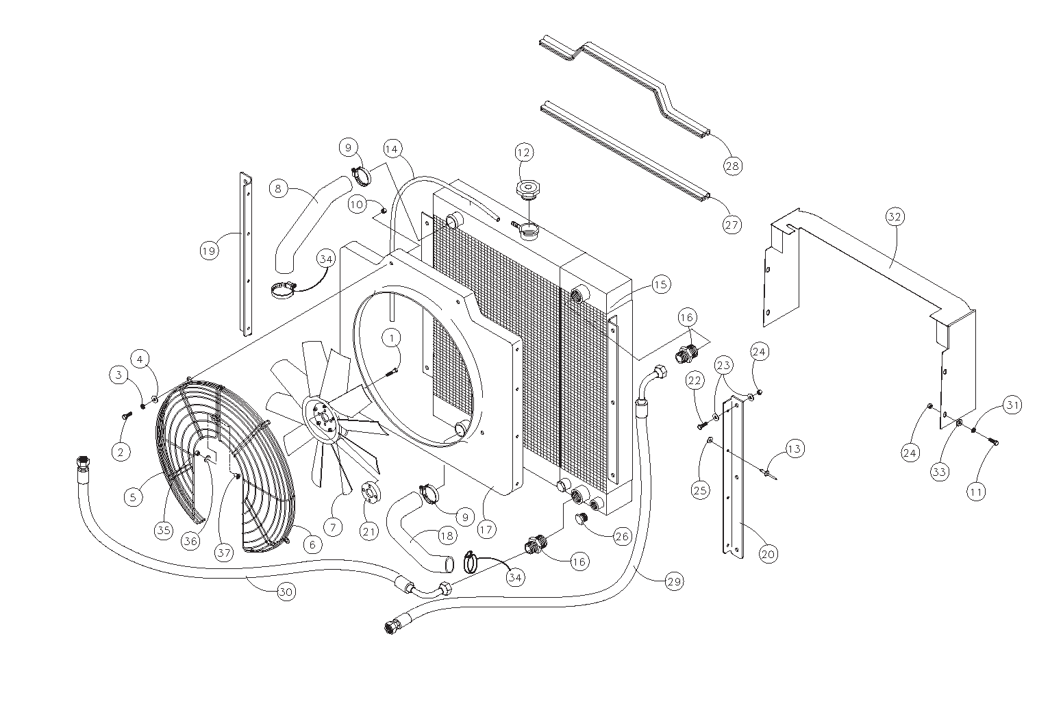 Diagram 6-A Radiator and Oil Cooler Assembly