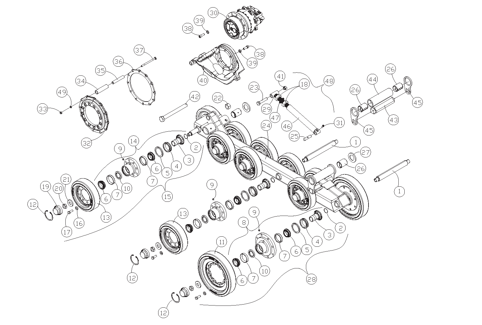 Diagram 13-B Undercarriage Assembly - Right Side