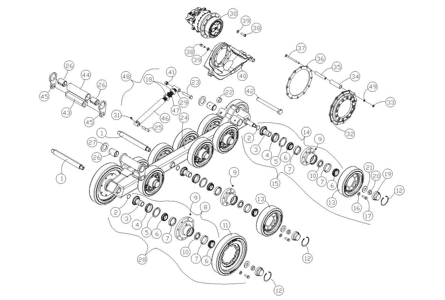 Diagram 14-B Undercarriage Assembly - Left Side