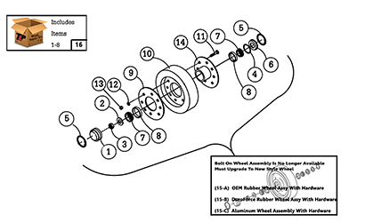 Diagram 04-A 10 Inch Rear Wheel Assembly - Bolt On