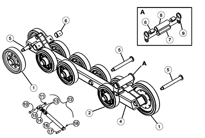 Diagram 02-B Undercarriage Frame - Bolt On Wheels