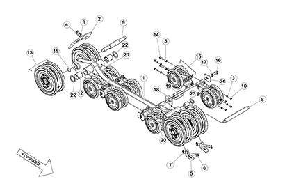 Diagram 02-B Undercarriage Dual Level Frame - Bolt On Bogie