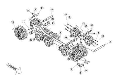Diagram 02-C Undercarriage Dual Level Frame - Small Hole Bogie