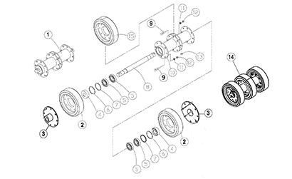 Diagram 24-B 14 Inch Axle Assembly - Double Bearing - Updated