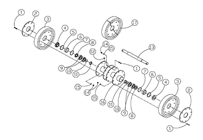 Diagram 25-A 14 Inch Axle Assembly - Double Bearing - Original