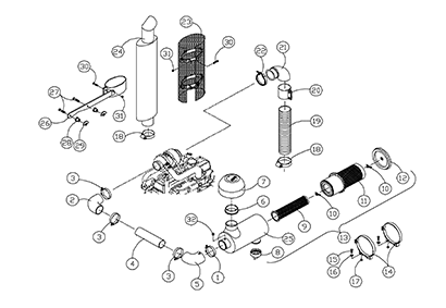 Diagram 15-A Muffler and Air Cleaner Assembly - Turbo