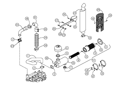 Diagram 16-A Muffler and Air Cleaner Assembly - Natural
