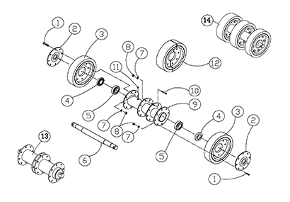Diagram 22-A 10 Inch Bogie Axle - Single Bearing