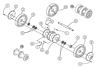 Diagram 24-A 14 Inch Axle Assembly - Double Bearing - Original