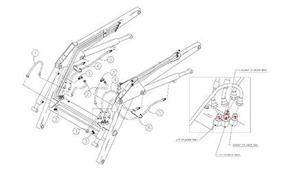 Diagram 16-A Lift Arm Tubes and Fittings